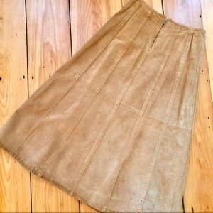 Vintage Leather Paneled Long Pencil Skirt
